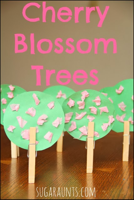 Cherry blossom craft to develop fine motor skills in kids