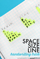 use graph paper to help kids work on visual motor integration skills and legibility through improved line awareness, letter formation, size awareness, spatial awareness, and handwriting neatness.
