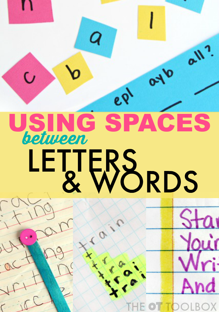 Spatial awareness handwriting activities to help with spacing between letters and words when writing.