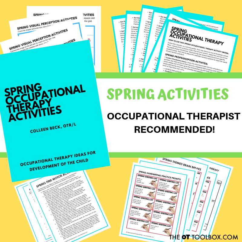 Spring occupational therapy activities for kids to help with development of skills like gross motor skills, fine motor skills, visual motor skills, and more.