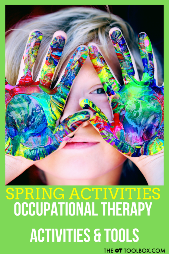Working on occupatioanl therapy goals? Here are OT activities designed to use a spring theme for fine motor skills, gross motor skills, handwriting, visual motor skills, sensory processing, bilateral coordination, and more.