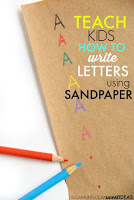 Use sandpaper as a strategy for helping kids to learn how to make letters, number formation, letter formation, spatial awareness, and line awareness in handwriting with a sensory, tactile, and proprioception activity.