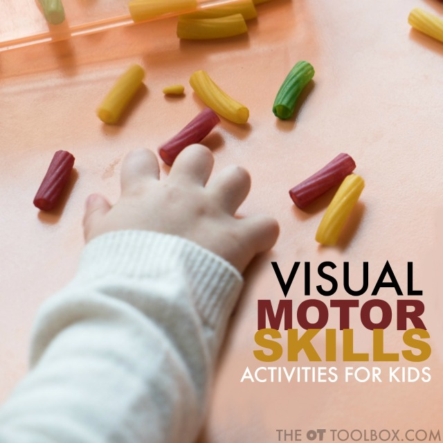 These visual motor activities are fun ways to help kids develop eye-hand coordination and visual motor skills needed for so many functional tasks.