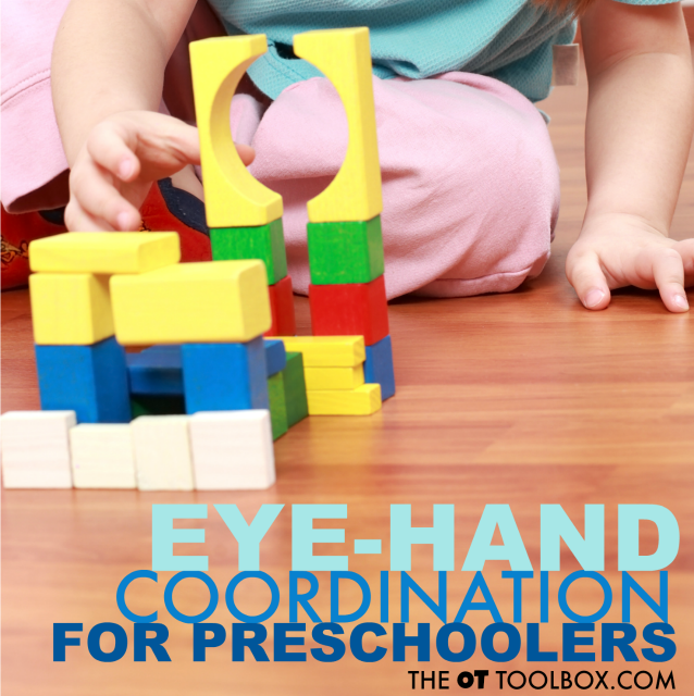 Work on eye-hand coordination with preschoolers by building with blocks!