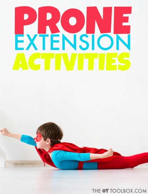 Prone extension activities are great for adding vestibular input and proprioceptive sensory input through heavy work. There are so many other benefits of activities using prone extension in occupational therapy and in promoting development in kids!