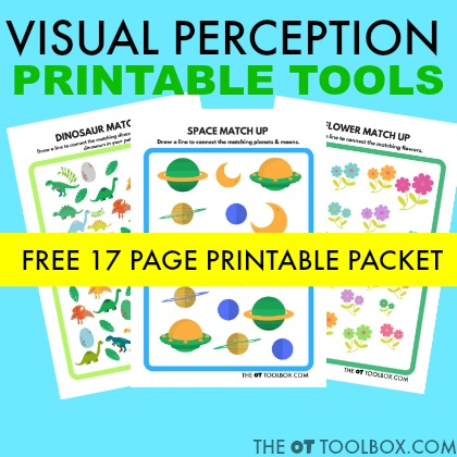 Add these free visual perception worksheets to your therapy toolbox to work on visual processing skills like visual spatial awareness, figure ground, form constancy, visual closure and other perceptual skills in kids.