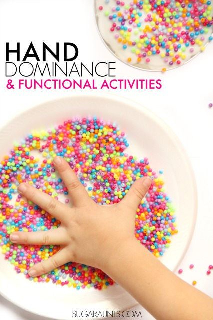 Hand dominance and laterality in kids.  Easy and fun tips to work on an established hand dominance in kids for functional use of tools like scissors, pencils, hair brushes, and toothbrushes.