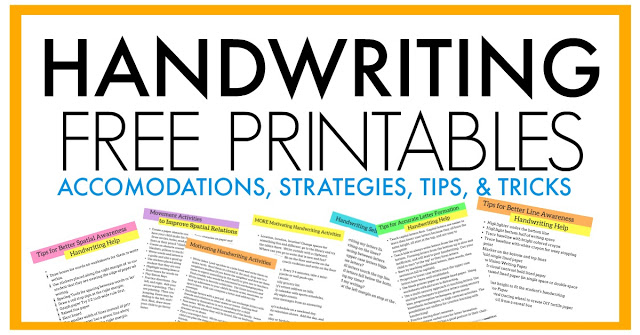 Free handwriting strategies for occupational therapists to use in OT sessions and to educate teachers, parents.