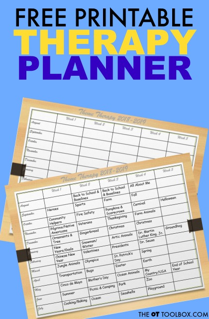 Use this free therapy planner to plan out occupational therapy sessions for the school year or home programming.