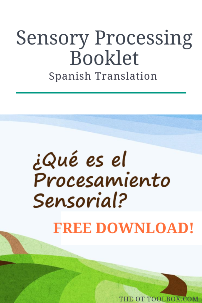 Sensory processing information resource in Spanish for printing and educating in Spanish resources for occupational therapy
