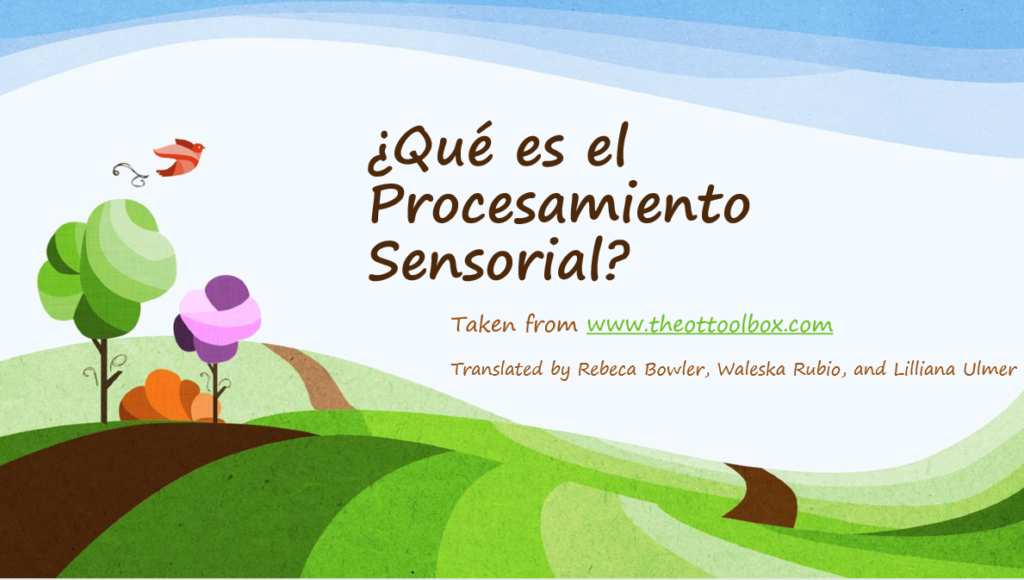 Sensory processing information in spanish for educating and helping Spanish speaking occupatioanl therapy clients