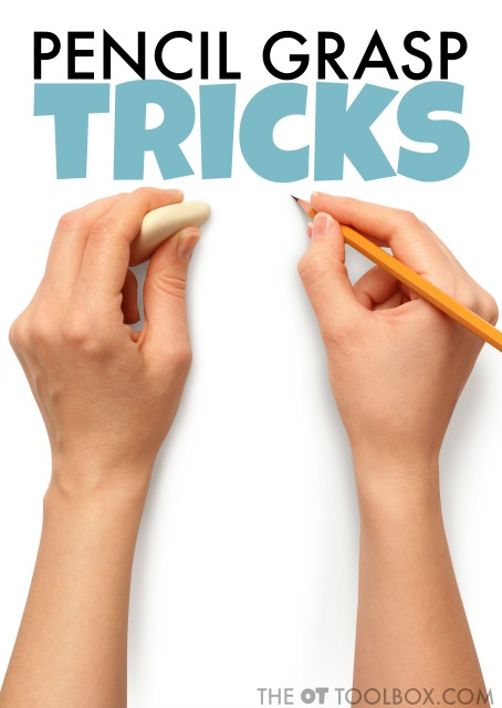 Use this pencil grasp tricks to help kids improve pencil grasp when writing.