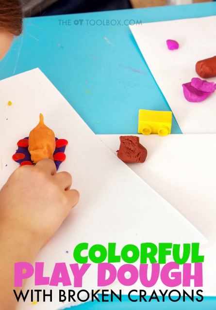 Recycle broken crayons to make crayon play dough