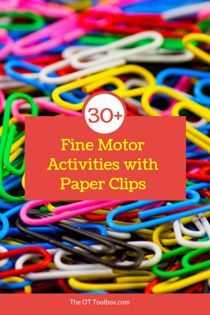 Use these fine motor activities using paperclips to improve fine motor skills in tasks like pencil grasp.