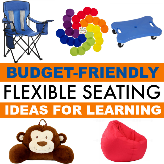 Budget-friendly flexible seating ideas include camp chairs, beach chairs, carpet spots, and more.