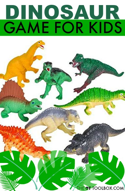 Dinosaur game for kids that is a great preschool dinosaur activity for gross motor skills.