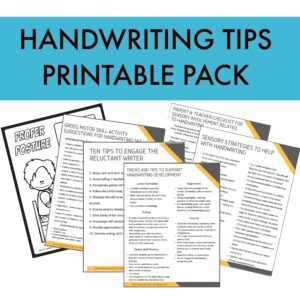 handwriting tips printable pack
