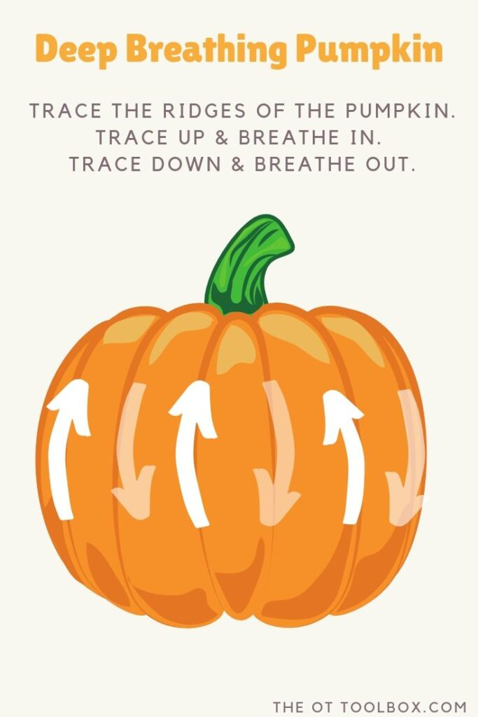 This deep breathing exercise uses a pumpkin for a coping strategy for kids that is a calm down strategy this Halloween.