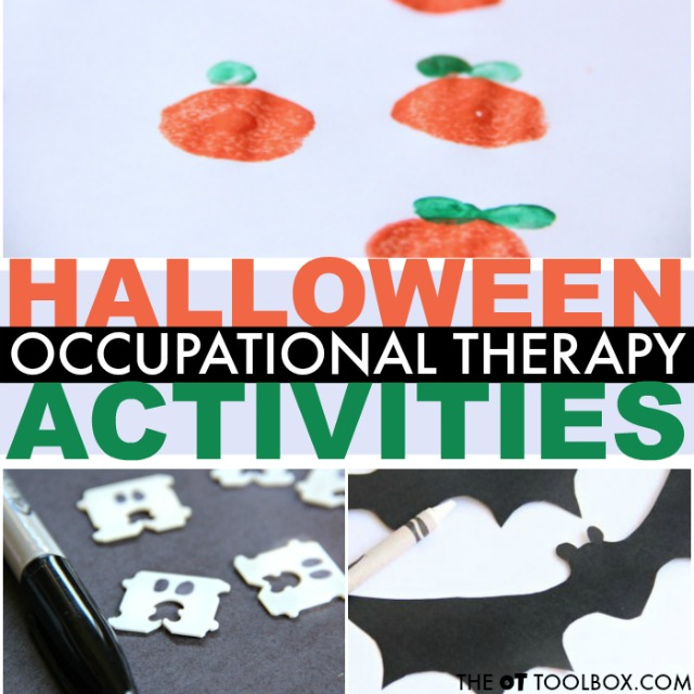 Use a Halloween occupational therapy activity in therapy planning in October with a ghost craft, spider activity, or pumpkin centers!