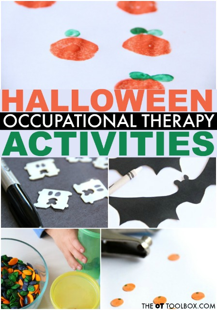 These halloween occupational therapy activities are great for working on skills in OT like fine motor skills, eye-hand coordination, scissor use, and more!