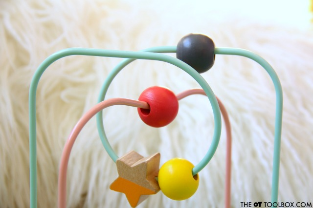 A bead maze is a great toy for helping babies develop spatial awareness.