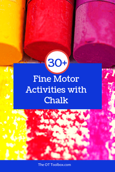 Try these fine motor activities using chalk to improve the dexterity and mobility in pencil grasp, managing clothing fasteners, and other small motor tasks.