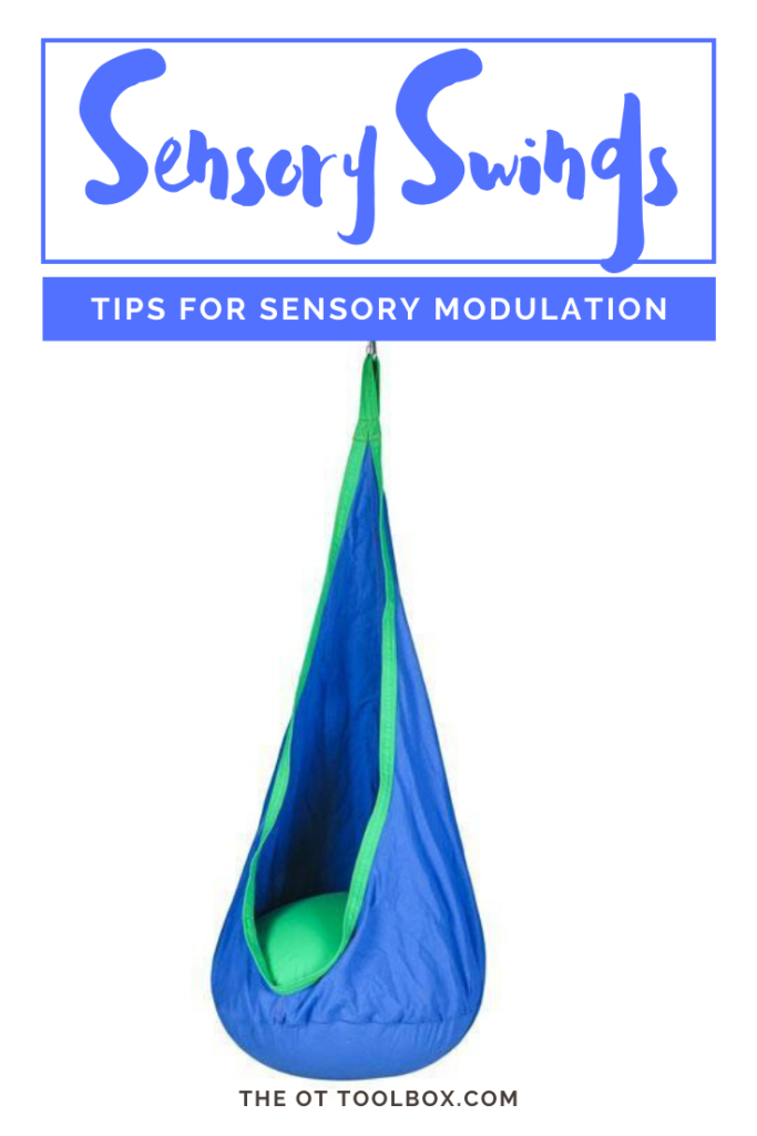 Use a sensory swing to help kids with sensory needs including sensory modulation