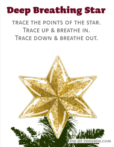Christmas star mindfulness for kids activity and coping strategy for deep breathing and awareness.