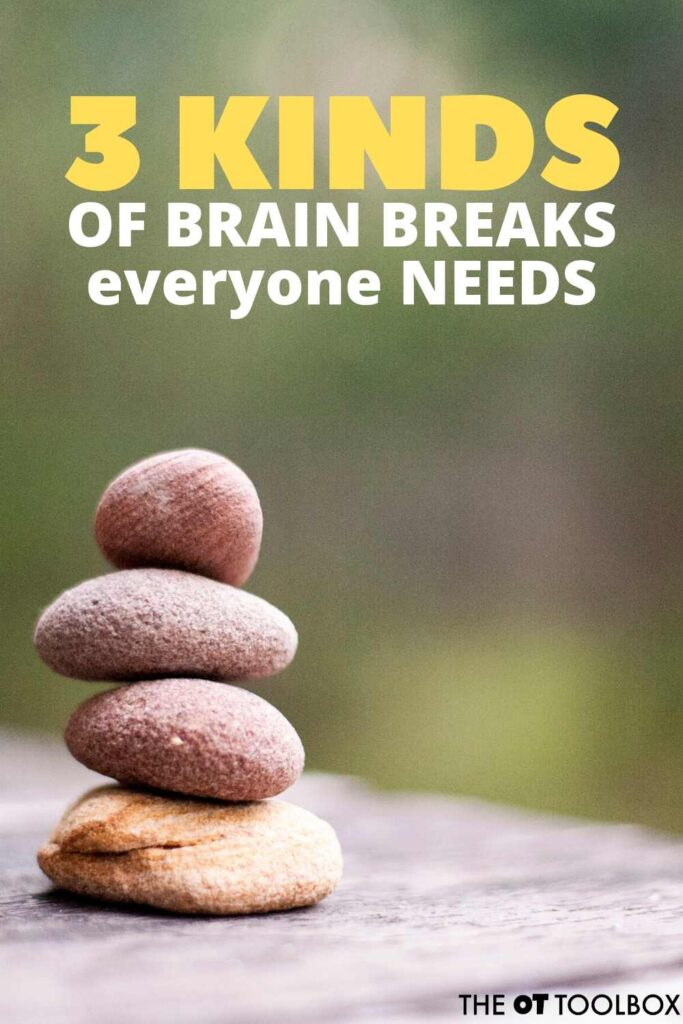 THere are three kinds of brain breaks that kids can use in learning and during the school day.