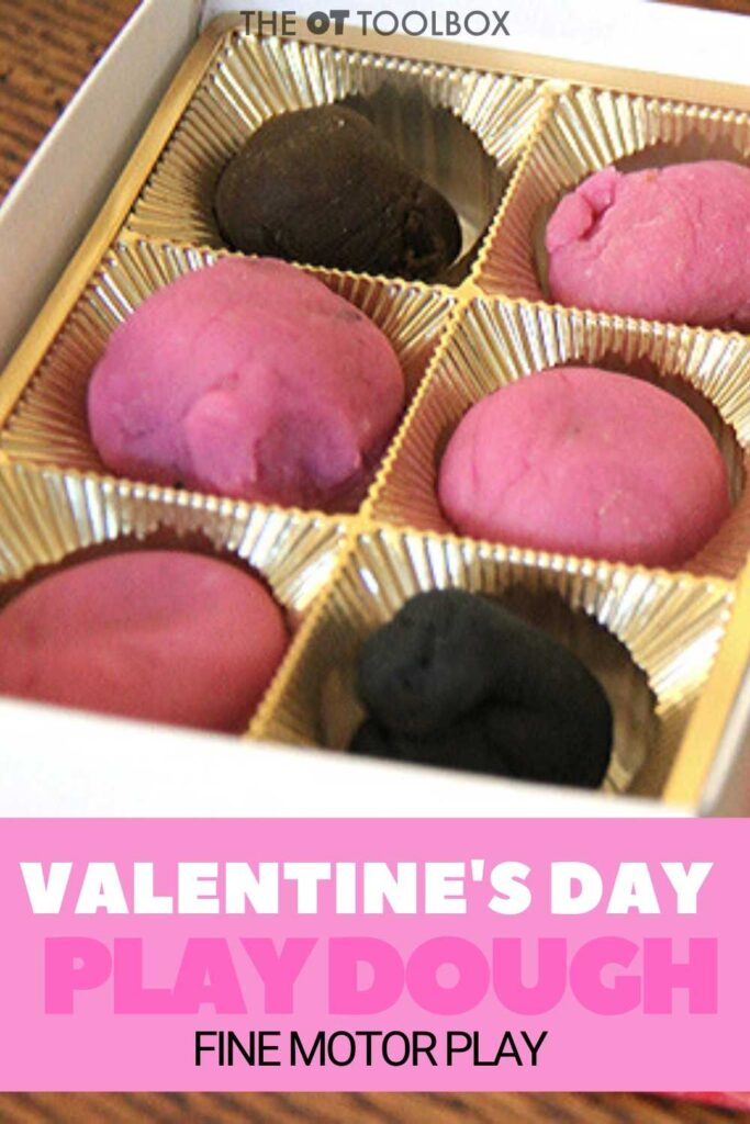 Use a recycled chocolate tray for a Valentine's Day play dough activity.