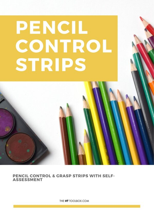 Pencil control strips for working on pencil accuracy and coordination with handwriting