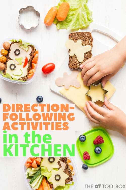 Direction following activity with cooking tasks are a great way to work on following multi-step directions in occupational therapy.