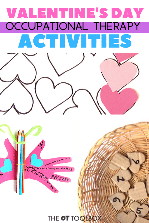 Use these valentine's day occupational therapy activities in therapy planning, classroom activites, and to work on skills like handwriting, fine motor skills, scissor skills and other developmental areas.