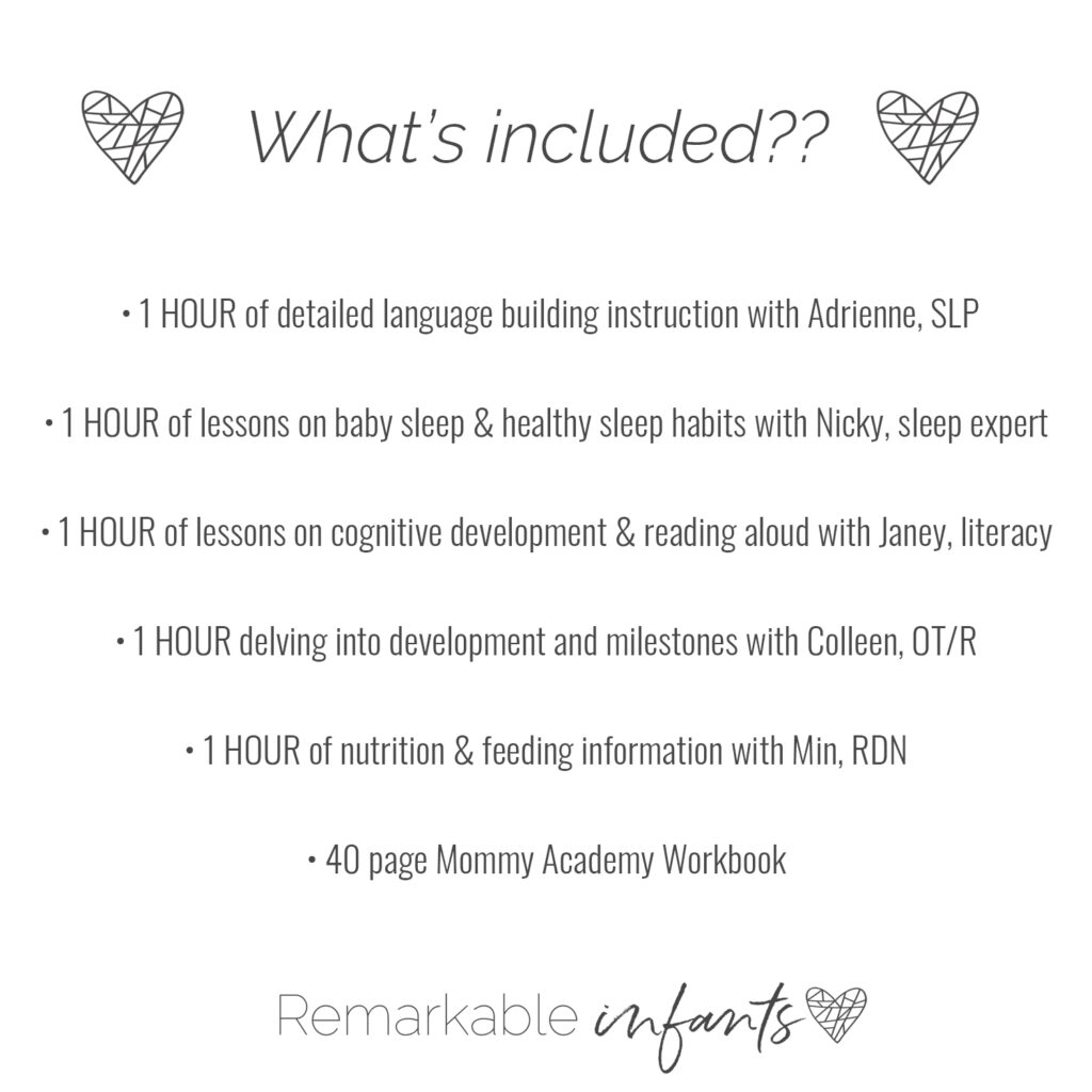 The Remarkable Infant course on babies provides information on baby development, including feeding for infants, speech therapy for babies, and how to play with babies.