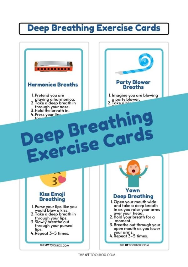 Deep breathing exercise cards in playing card size for games and sensory needs