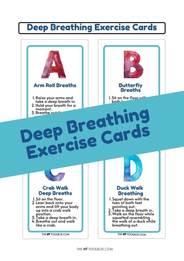 A-Z Alphabet deep breathing exercises for coping skills and self-regulation in kids