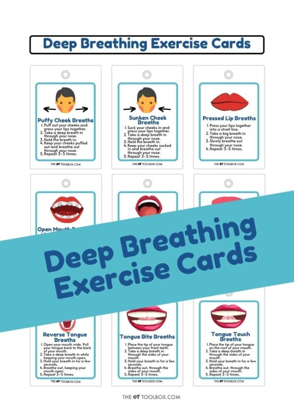 Deep breathing exercise cards for oral motor skills and proprioceptive input through the mouth and lips