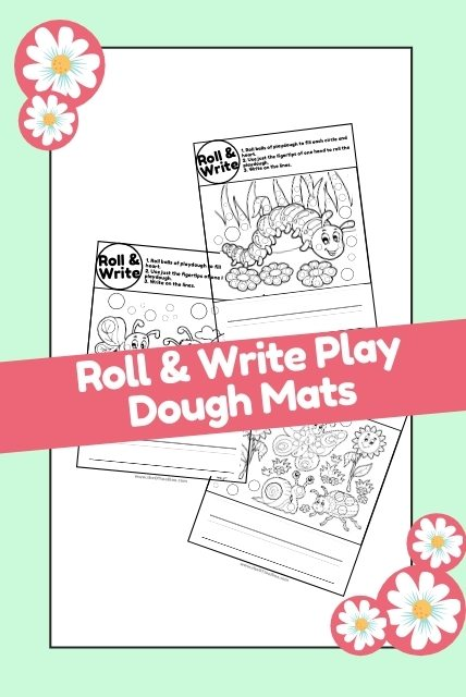 Spring play dough mats for fine motor skills