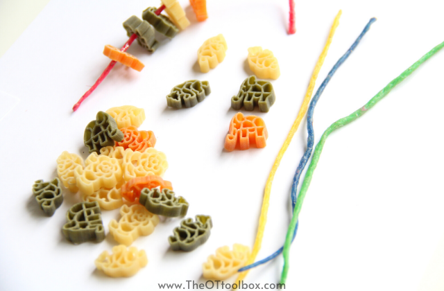 Use noodles and string or pipe cleaners to work on fine motor skills in teletherapy occupational therapy sessions