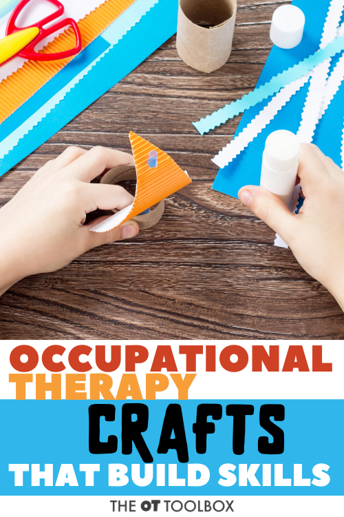 Occupational therapy crafts to help kids build skills like fine motor, direction following, scissor skills, bilateral coordination, and more.