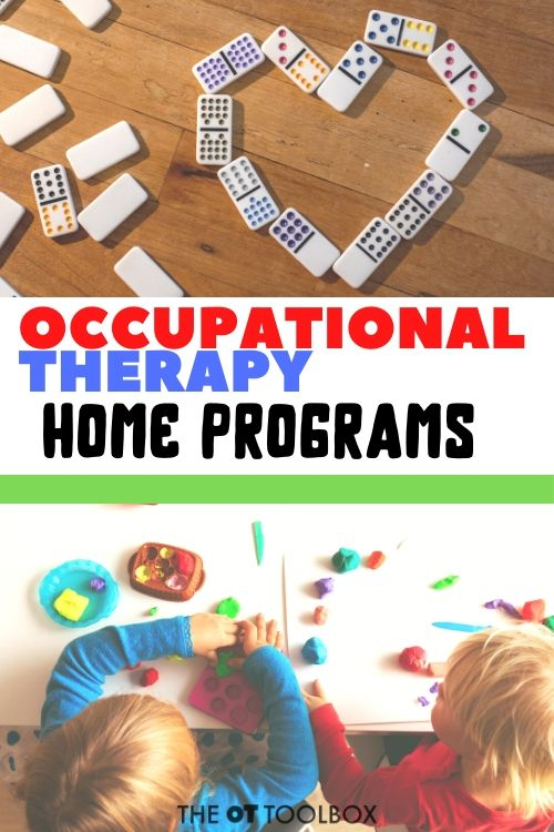 Use these occupational therapy home programs for setting up OT programs at home, for kids on homeschool, teletherapy activities, and occupational therapy recommendations for home. Perfect for carryover of OT activities.