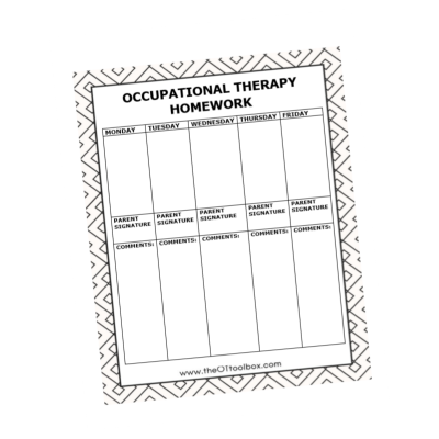 occupational therapy homework tracker for kids to help with carryover of handwriting skills
