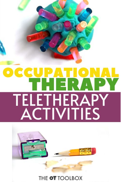 Use these occupational therapy telehealth activities for addressing OT at home or online therapy programming
