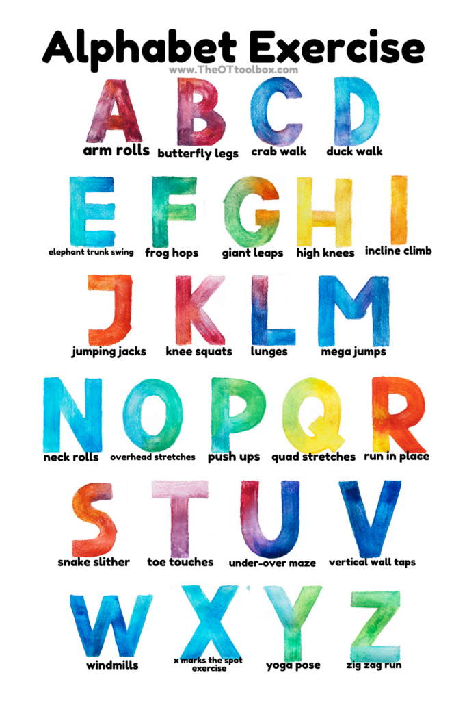 Alphabet exercises for indoor gross motor activities for kids