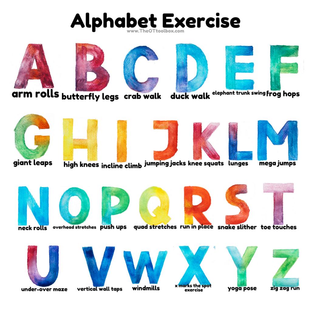 Alphabet gross motor exercises for kids