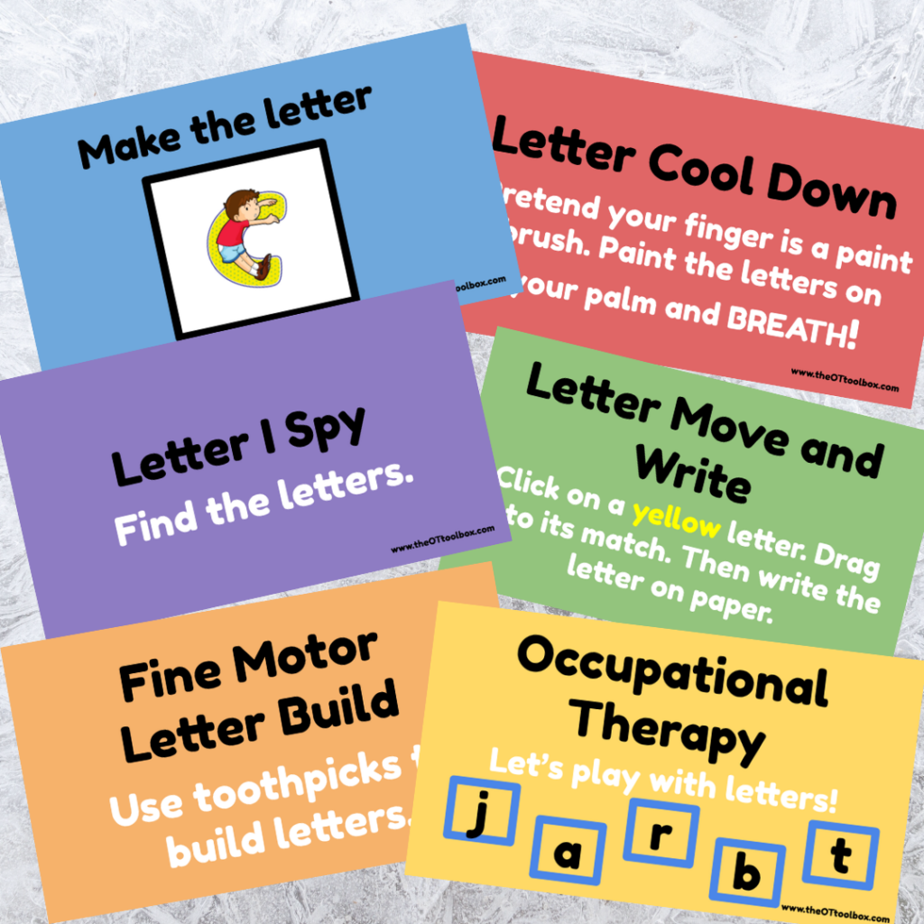 These free OT slides can be used in occupational therapy teletherapy sessions or to guide virtual therapy.