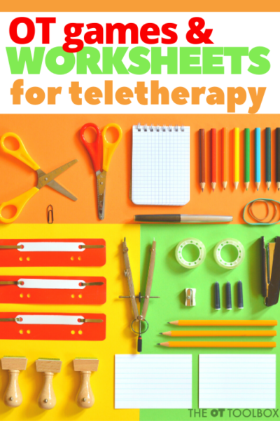 Use these occupational therapy games and worksheets in teletherapy