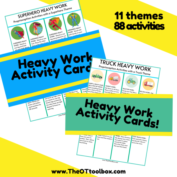 heavy work cards for regulation, attention, and themed brain breaks
