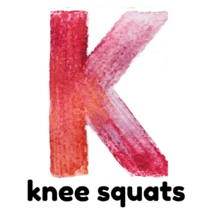 K is for knee squats gross motor activity part of an abc exercise for kids