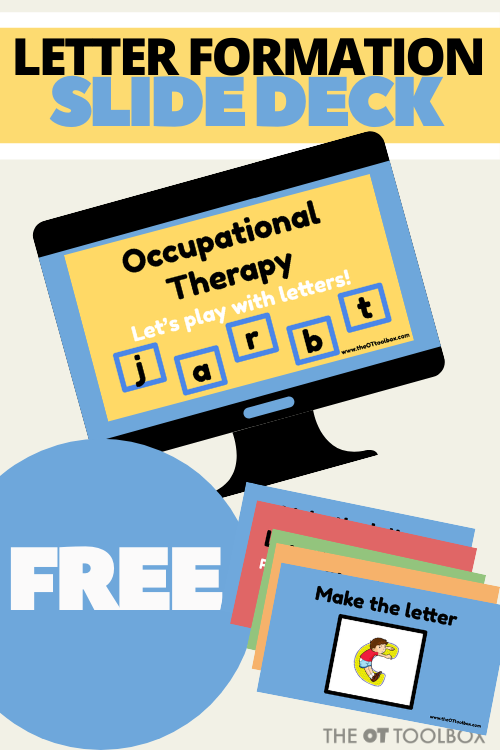 Teach letters in occupational therapy telehealth sessions or in distance learning with a movement-based, sensory component, and fine motor, gross motor piece to learning letters through virtual classrooms.